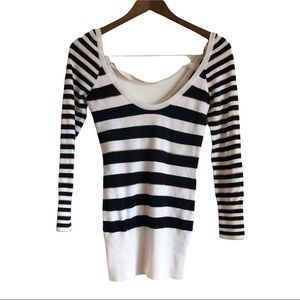 GUESS Soft Metallic Striped Low Scoop Neck Long Sleeve Sweater Shirt Top White
